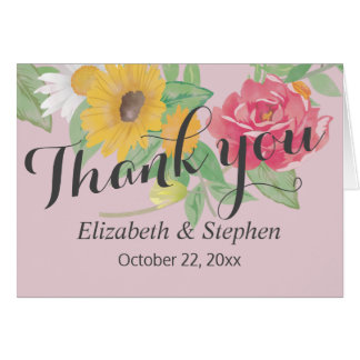 Elegant Watercolor Floral Wedding Thank You Card