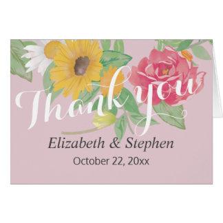 Elegant Watercolor Floral Wedding Thank You Card