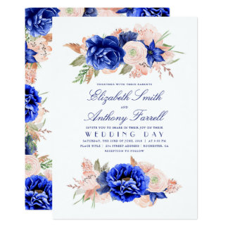 Elegant Watercolor Floral Wreath Navy Blue Wedding Card
