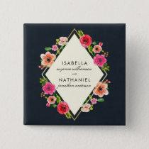 Elegant Watercolor Flowers | Gold Frame Wedding Button