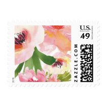 Elegant Watercolor Flowers Wedding Stamp