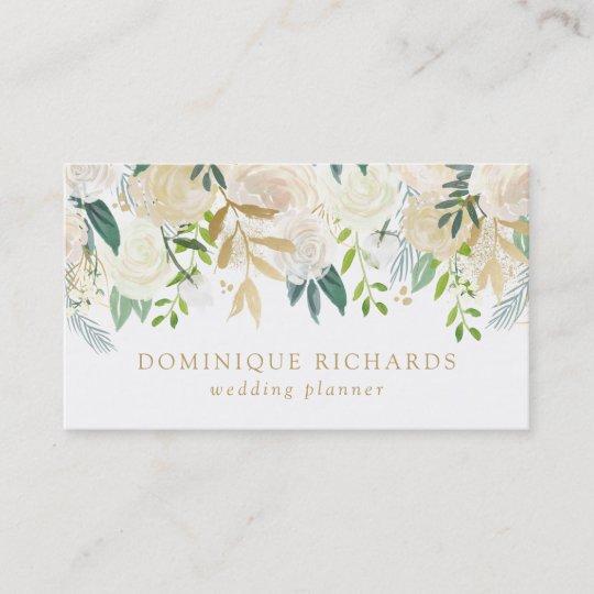 elegant watercolor flowers with faux gold foil business card - Foil Business Cards