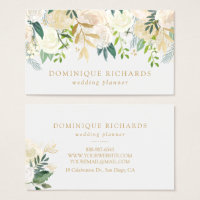 Elegant Watercolor Flowers with Faux Gold Foil Business Card