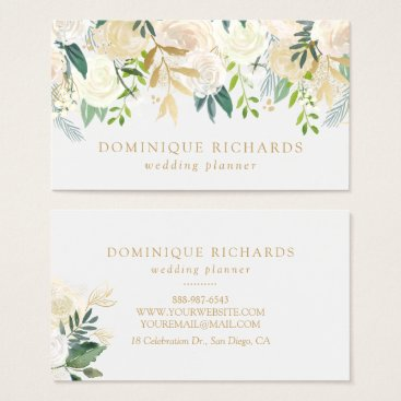Professional Business Elegant Watercolor Flowers with Faux Gold Foil Business Card