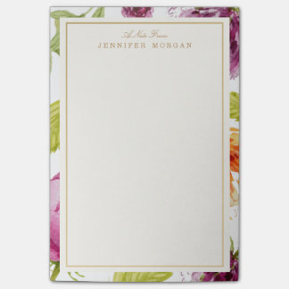 Elegant Watercolor Garden Flowers Stylish Frame Post-it® Notes