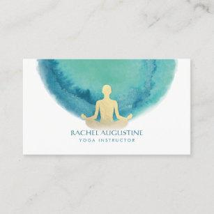 Yoga business cards zazzle elegant watercolor gold meditation yoga instructor business card colourmoves