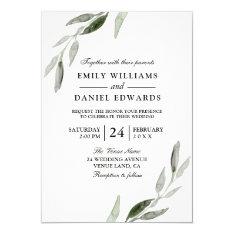 Elegant Watercolor Green Leaf Wedding Invite at Zazzle
