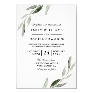 Elegant Watercolor Green Leaf Wedding Invite