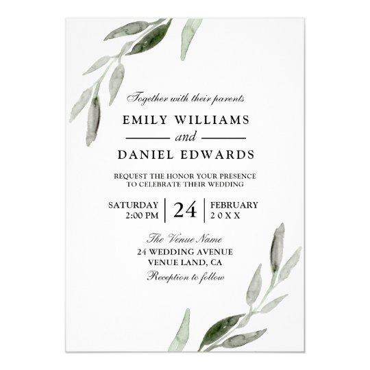Elegant Watercolor Green Leaf Wedding Invite Zazzle Com