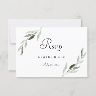 Elegant Watercolor Green Leaf Wedding Invite RSVP