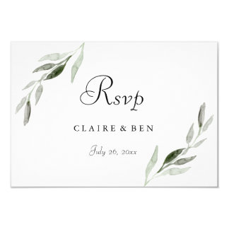 Elegant Watercolor Green Leaf Wedding Invite RSVP