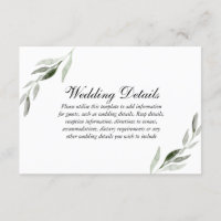 Elegant Watercolor Green Leaf Wedding Reception Enclosure Card