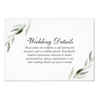 Elegant Watercolor Green Leaf Wedding Reception Invitation
