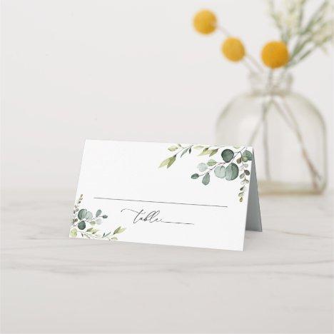 Elegant Watercolor Greenery Folded Place Card