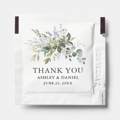Elegant Watercolor Greenery Wedding Hand Sanitizer Packet