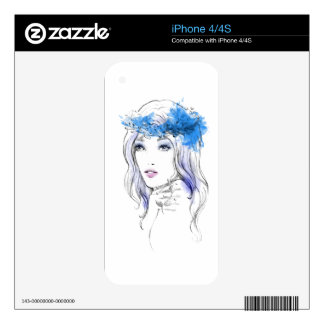 Elegant watercolor hand drawn woman  illustration iPhone 4S skin