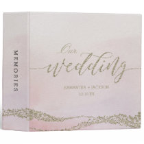 Elegant Watercolor in Blush Wedding Photo Album 3 Ring Binder