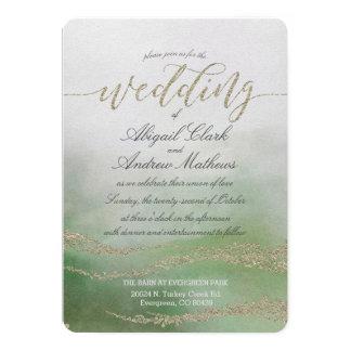 Elegant Watercolor in Foliage Wedding Invitation