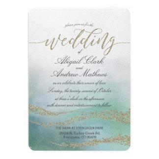 Elegant Watercolor in Ocean  Wedding Invitation