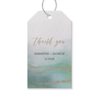 Elegant Watercolor in Ocean Wedding Thank You Gift Tags