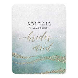 Elegant Watercolor in Ocean Will You Be Bridesmaid Invitation