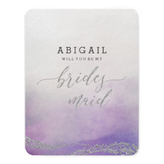 Elegant Watercolor in Orchid Will You Be Bridesmai Card