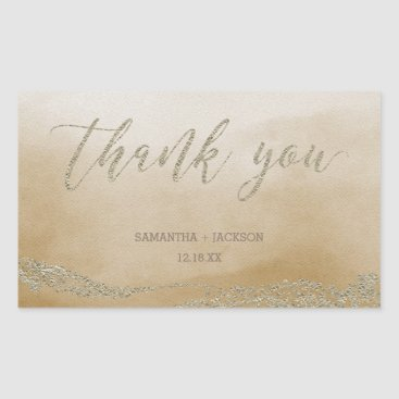 Beach Themed Elegant Watercolor in Sand Wedding Thank You Rectangular Sticker