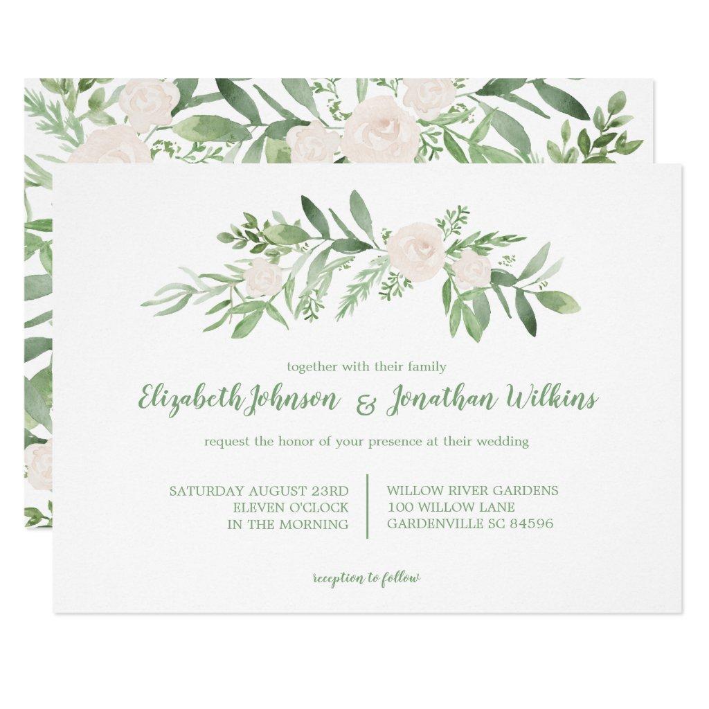 Elegant Watercolor Ivory Rose Wedding Ceremony Invitation