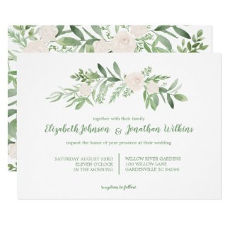 Elegant Watercolor Ivory Rose Wedding Ceremony Invitation
