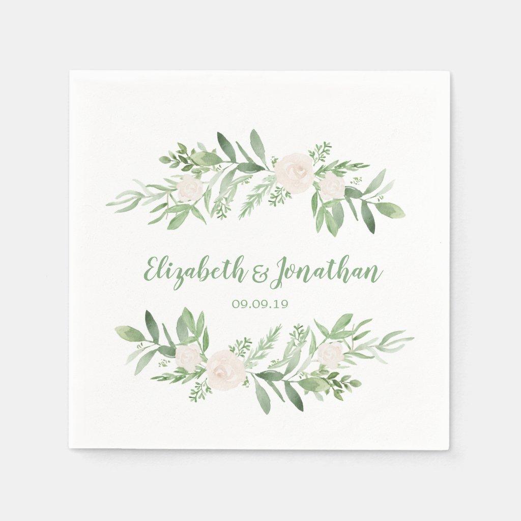 Elegant Watercolor Ivory Rose Wedding Napkin