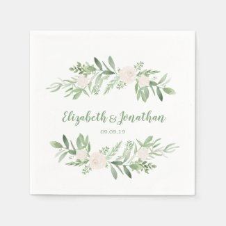 Elegant Watercolor Ivory Rose Wedding Napkin