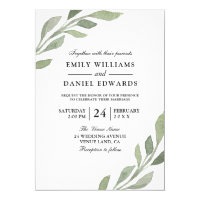 Elegant Watercolor Leaf Spring Fall Wedding Invite