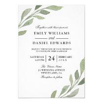 Elegant Watercolor Leaf Spring Fall Wedding Invite