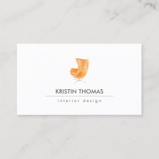 Elegant Watercolor Leather Chair Interior Designer Business Card
