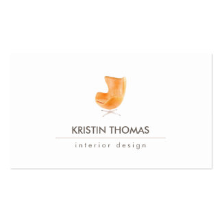 Elegant Watercolor Leather Chair Interior Designer Business Cards