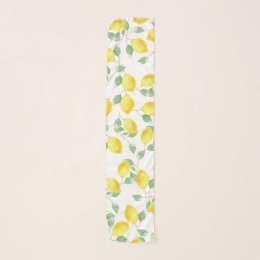 Elegant Watercolor Lemons & Blossoms Scarf