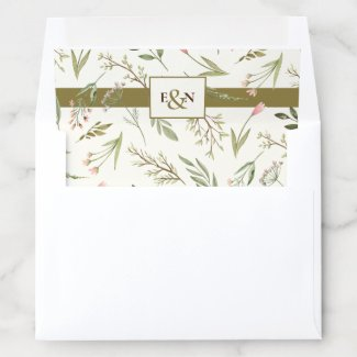 Elegant Watercolor Monogram Botanical Envelope Liner