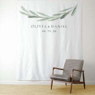 Elegant Watercolor Olive Branch Wedding Backdrop