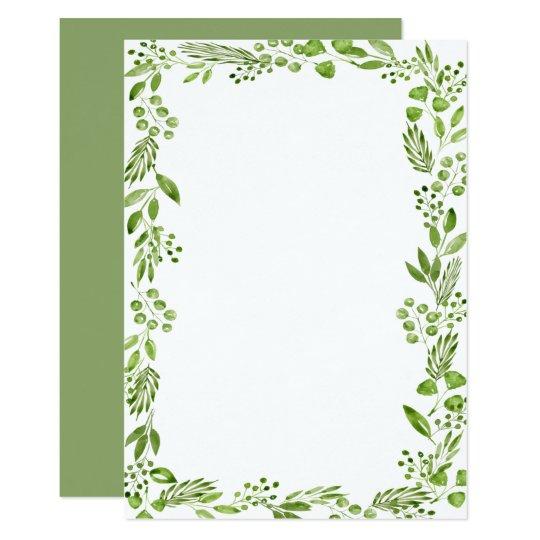 Elegant Watercolor Olive Leaf Frame Custom Blank Invitation Zazzle Com