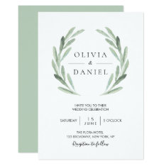 Elegant Watercolor Olive Leaf Wreath Green Wedding Card at Zazzle