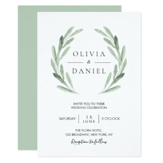 Elegant Watercolor Olive Leaf Wreath Green Wedding Card
