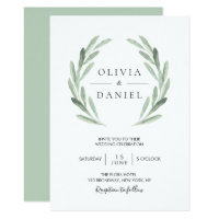 Elegant Watercolor Olive Leaf Wreath Green Wedding Invitation