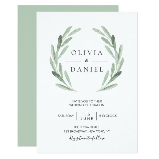 elegant watercolor olive leaf wreath green wedding invitation