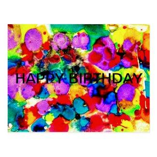 Elegant Watercolor Painting Happy birthday Postcard