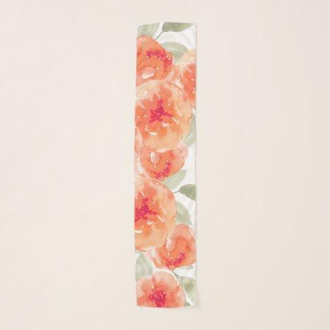 Elegant Watercolor Peach Peonies Floral Scarf