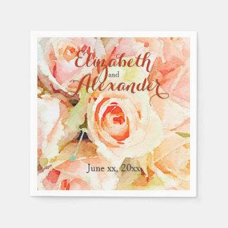 Elegant Watercolor Peach Roses Wedding Paper Napkin