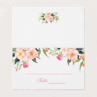 Elegant Watercolor Pink Floral Wedding Place Card