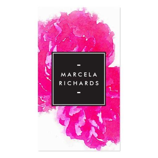 Elegant Watercolor Pink Peonies Business Card Template