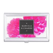 Elegant Watercolor Pink Peonies Card Case
