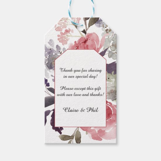 Elegant Watercolor Pink Peonies Wedding Thank You Gift Tags